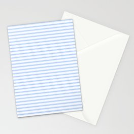 Mattress Ticking Narrow Horizontal Stripe in Pale Blue and White Stationery Cards