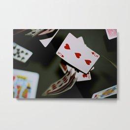 Flying Cards Metal Print