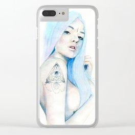 Blue hair Clear iPhone Case