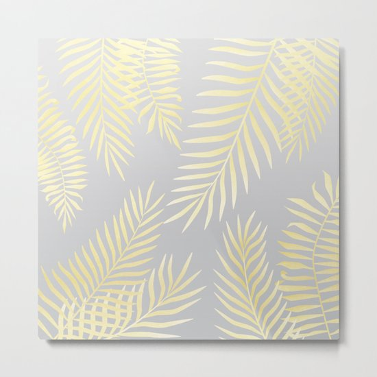 Gold palm leaves on grey Metal Print