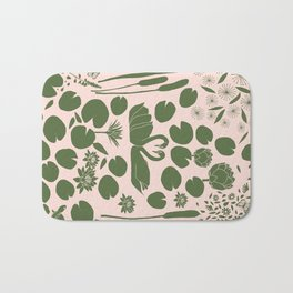 Pond Affair in Pink and Green Bath Mat