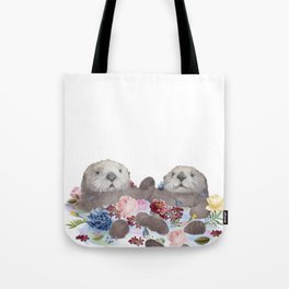 Sea Otters Holding Hands, Love Art Tote Bag