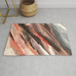Moving Mountains: an abstract mixed media piece in contrasting pinks, purples, blues, and whites Rug
