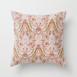 Orange Pink Leaf Flower Paisley Throw Pillow