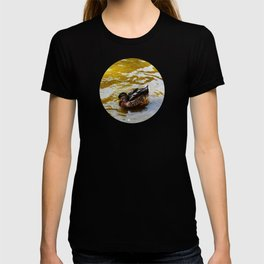 Duck swimming in golden water T-shirt