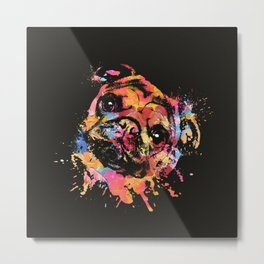 Pastel Paint Pug dog Metal Print