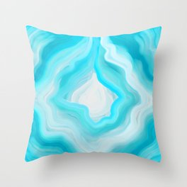 AGATE INTERPRETED: COOL BLUE BREEZE OIL PAINTING Throw Pillow