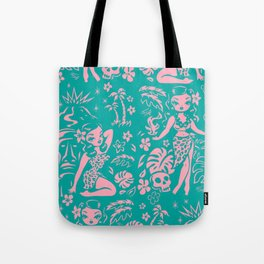 Tiki Temptress in Pink and Turquoise Tote Bag
