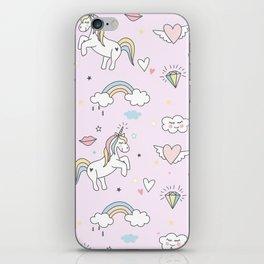 Unicorn & Rainbows Light Pink iPhone Skin