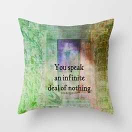 Shakespeare insult Quote from Merchant of Venice Throw Pillow