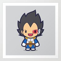 vegeta Art Prints featuring FunSized Vegeta by Papyroo