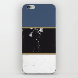Marble Mix Stripes #3 #black #white #blue #gold #decor #art #society6 iPhone Skin