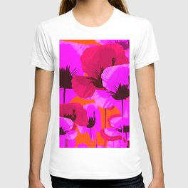 Pink And Red Poppies On A Orange Background - Summer Juicy Color Palette - Retro Mood T-shirt