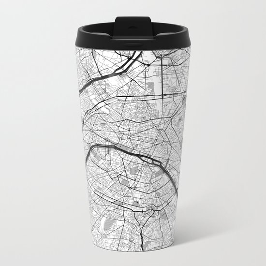 Paris Map Gray Metal Travel Mug
