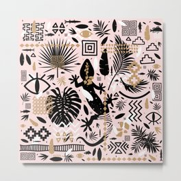 Boho Gecko Pattern Metal Print