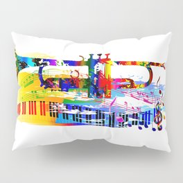 Abstract colorful music instrument painting.Trumpet, piano, musical notes, color splash, treble clef Pillow Sham