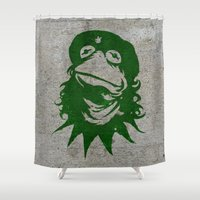 kermit Shower Curtains featuring Viva la Frog! by 6amcrisis