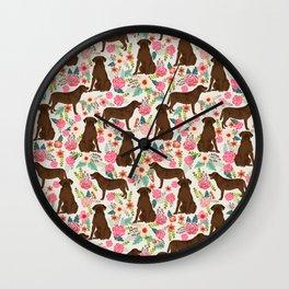Labrador Retriever florals chocolate lab cute pet gifts must have labrador florals Wall Clock