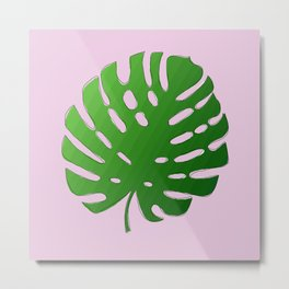 Palm Tree Leafy (pink) Metal Print