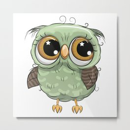 Green Owl Metal Print