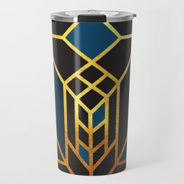 Art Deco Leaving A Puzzle In Blue Travel Mug