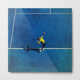 Novak Djokovic Tennis Serving Metal Print