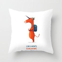 Unicorn's adventure Throw Pillow