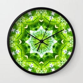 GREEN LEAVES MANDALA Wall Clock