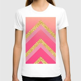 Pink, Rosé, Coral, Gold Triangles - Ombré Watercolor T-shirt