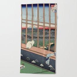 Utagawa Hiroshige Japanese Woodblock Cat Beach Towel