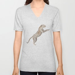 Leaping Leopard - Watercolor Unisex V-Neck