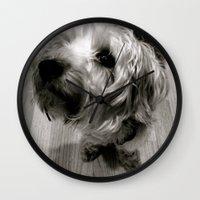 jake Wall Clocks featuring Jake by Julia Blanchette