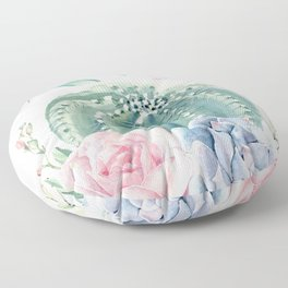 Cactus Rose Succulents Garden Floor Pillow