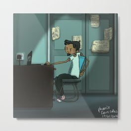 Cool dude being cool in his mystery blue bedroom  Metal Print