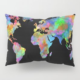 world map watercolor black 2 Pillow Sham