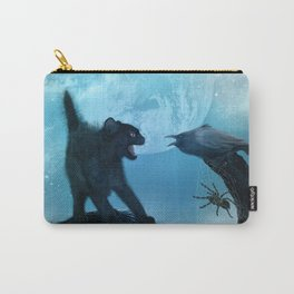 The cat and the crow in the night. Carry-All Pouch