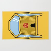 transformers Area & Throw Rugs featuring Transformers - Sunstreaker by CaptainLaserBeam