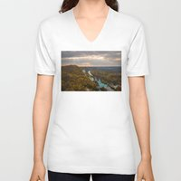 ukraine V-neck T-shirts featuring Holy Mountains Monastery (Ukraine)  by Limitless Design