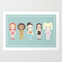 spice girls Art Prints featuring Spice Girls by Ricky Kwong