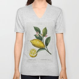 An enlarged version of lemon with leaves and a half-cul lemon (Citrus limonium) from Traite des Arbr Unisex V-Neck