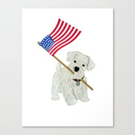 Original Paper Cutting of Westie With American Flag Canvas Print