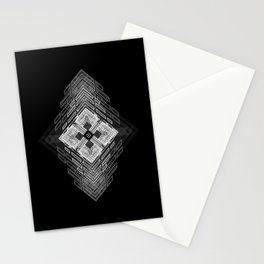 White fractal geometric shapes with compass symbol Stationery Cards