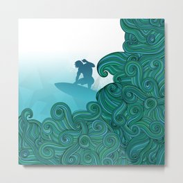 Surfer wave art Surfer dude hangin ten with stylized waves Metal Print