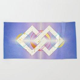 Linked Lilac Diamonds :: Floating Geometry Beach Towel
