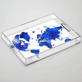 """Navy blue and cobalt blue watercolor world map with cities labelled, """"Carlynn"""" Acrylic Tray"""