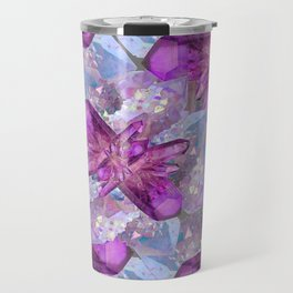 PURPLE AMETHYST & QUARTZ CRYSTALS FEBRUARY GEMS Travel Mug