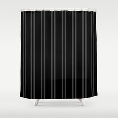 Charcoal Gray/Black Vertical Stripes Shower Curtain