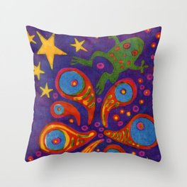 Space Frog batik Throw Pillow