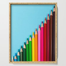 Rainbow Colored Pencils Serving Tray