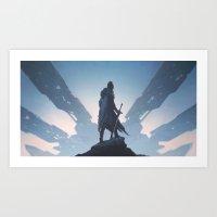 knight Art Prints featuring Knight by yurishwedoff